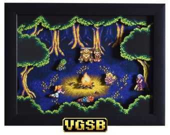 Chrono Trigger Shadow Box - Fiona's Forest - SNES - Super Nintendo - 3D Shadow Box Glass Frame - 12x10 - Christmas Gift - Retro Game Art
