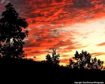 IN STOCK Blue Ridge Mountain photos. sunset photography Landscape nature photograph Orange Yellow home decor Sunset Print 8x10 matted  11x14