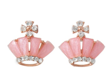 Pink Crown Shaped Small Stud Earrings