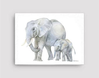 Elephants Watercolor 16 x 12 Gallery Wrapped Canvas Print - Nursery Art - Mother and Baby