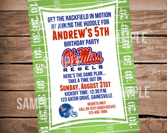 Ole Miss Rebels Football Birthday Party Invitation with Field Background