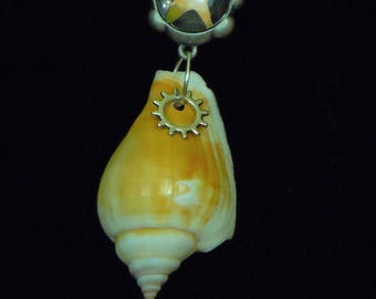Beachcomber Necklace- shell, gear, starfish, silver