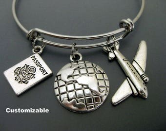 Flight Attendant / Travel Bracelet / Airplane Bracelet / Expandable Bangle  / Adjustable Charm Bracelet   / Globe Bracelet /  Passport