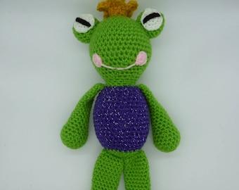 Frog prince, amigurumi frog, frog prince doll, crochet frog prince, amigurumi frog doll, frog plush, stuffed frog, cute frog crochet toy