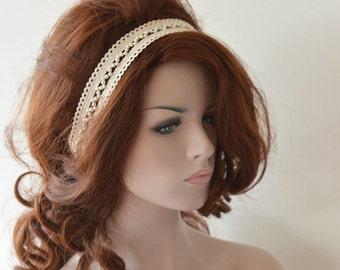 Rustic Lace Wedding Headband,  Ivory Lace Headband,  Bridal Hair Accessory, Rustic Wedding Hair Accessory