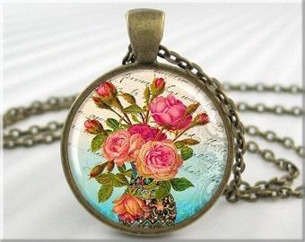 Pink Roses Pendant, Bouquet of Roses, Flower Art Jewelry, Resin Pendant Charm, Rose Jewelry, Art Pendant, Round Bronze Pendant 063RB