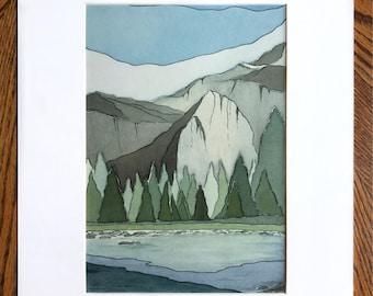 Yosemite print, Watercolor print, Abstract watercolor, Abstract landscape, Yosemite National Park, California