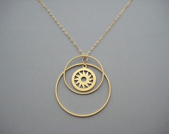 Gold Double Hoop Necklace with Sun Disk, all seeing eye choker, linked circle, minimalist statement jewelry - Sunset