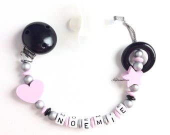 Pacifier clip Silver Pink black personalized pacifier