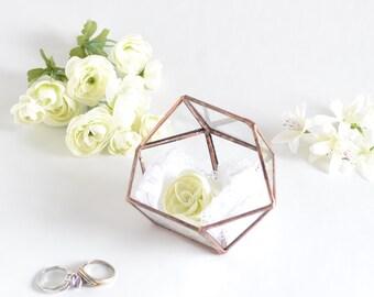 Wedding Ring Box, Glass Terrarium, Clear Glass Planter Geometric Box. Wedding Gift
