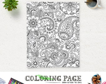Adult Floral Coloring Page Printable Paisley Printable Coloring Book Adult AntiStress Art Therapy Instant Download Zen Digital Art Download