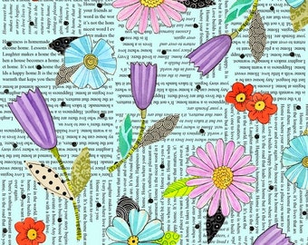 Motivational Inspirational - By the Yard - Happy Home Floral Quote Fabric