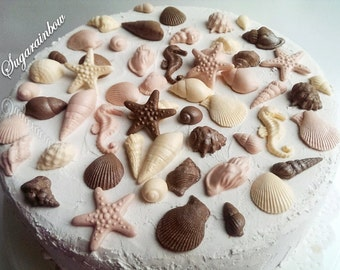 45 Edible sugar cake decorations shells sea horse stars cake cupcake toppers