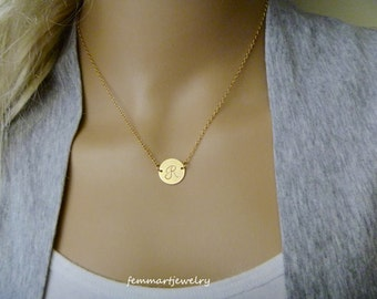 Silver or Gold Initial Necklace - Personalized Bridesmaid Gift - Monogram Necklace - Gold Coin Disc - Femmart - Birthday Gift