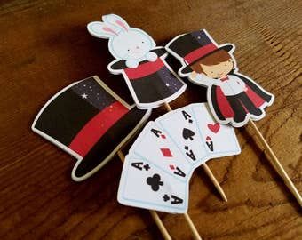 Magic Show Party - Set of 12 Assorted Double Sided Magic Show Cupcake Toppers by The Birthday House