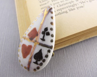 Vintage Card Brooch, Hand Painted Playing Card Pin, Retro Casino Wear Ceramic Brooch, Cards With Friends Brooch
