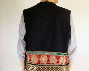 Black Denim Vest | Upcycled | Reused vintage Indian embroidery | Size medium