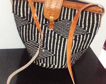 Leather bag, sisal bag, woven bag, black bag, African bag, Kenyan bag, sling bag, crossbody bag, bag, leather purse, African purse
