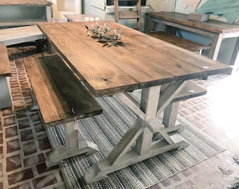 rustic pedestal farmhouse table with benches provincial brown with white distressed base dining set - Rustic Farmhouse Table
