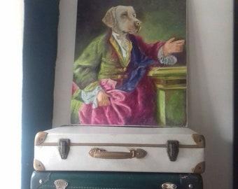 Oil on canvas body man dog costume