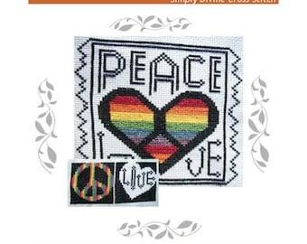 PDF E pattern EMAILED Peace Love Hippie Groovy Cross Stitch Pattern Digital 108