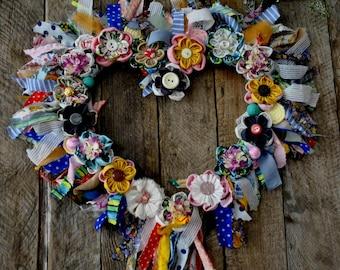 Decorative Wreaths , Summer Front Door Wreaths , Bright Decor Wreath,Colorful Wreaths, Beautiful Wreaths, Provence Wreath, Heart Wreaths