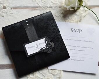 Gothic Diamante Pocketfold Wedding Invitation - SAMPLE