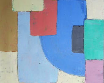 Geometric painting, minimalist painting, oil painting, abstract painting, modern landscape, painting on paper, wall art, contemporary