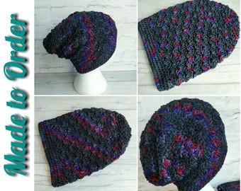 Crocheted slouch hat, made to order, slouchy hat, crochet hat, men's slouch hat, women's slouch hat, unique winter hat, OOAK hat