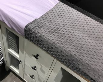 crib sheet for changing mat, lavender and grey minky