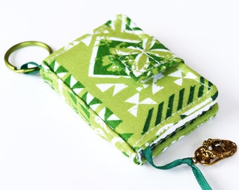Tiny Journal in Green Tropical Fabric Cover, Miniature Journal, Mini Blank Book, Key Ring Notebook with Ribbon Bookmark and Hawaiian Charm