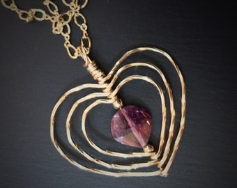 Pink Tourmaline Heart Necklace, Gold Heart Necklace, Mother's Day Gift for Her, Romantic Anniversary,  Rubellite