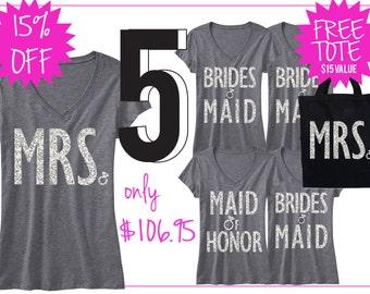 BRIDAL WEDDING 5 SHIRTS 15% Off Bundle, Mrs Shirt, Bridesmaid shirt, maid of honor shirt, wedding, mrs, bridesmaid, maid of honor, bridal