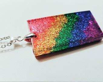Rainbow glitter rainbow resin pendant