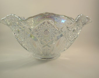 Vintage LE Smith Glass Iridescent Bowl Handmade in the USA Carnival Glass Bowl