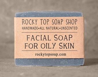 Acne Soap, Natural Soap, Unscented Soap, Cold Process Soap, Oily Skin Soap, Facial Soap, Vegan Soap, Rustic Soap, Homemade Soap
