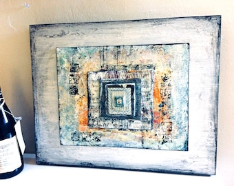16x20 Wall Art Mixed Media Collage With Peace Sign - White/Grey/Lt Blue/Some Orange 1.5 inch Gallery Wide Cradled Wood Board Ready to Hang