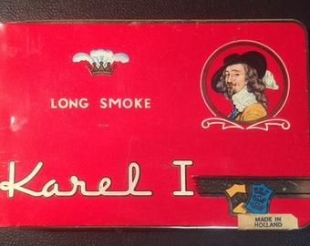 Vintage Karel 1 Long Smoke Tobacco Tin From Holland