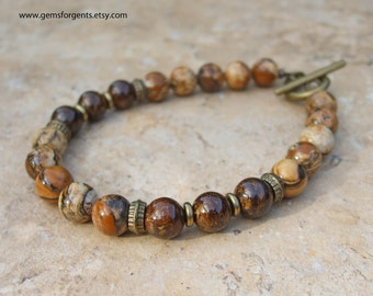 Picture Jasper and Brown Bronzite, Mens Beaded Bracelet, Mens Jewelry – B54