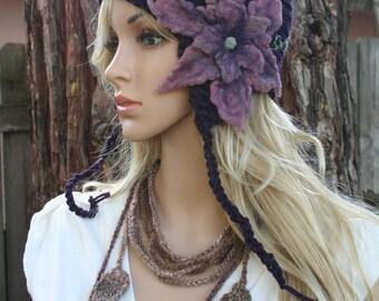 Secret Garden Felted Flower Hat- Eggplant, Pink, Lavender- All Wool Pixie Fairy Hat