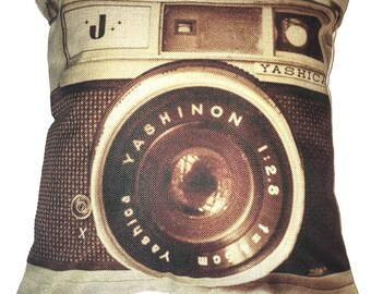 Camera Pillow 17 x 17  Cotton Linen Vintage Camera Pillow YASHINO