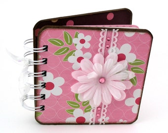 White Blossoms in a Pink Garden Mini Blank Book, doodle - sketch - collage - write