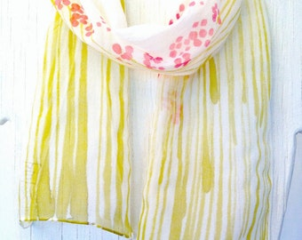 Hand Painted Silk Scarf, Summer Scarf, Pink Petite Sumi Wildflowers Scarf, Silk Chiffon Scarf, 7x52 inches. Made to order.