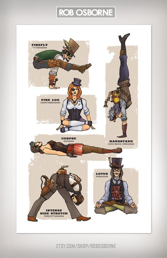 STEAMPUNK YOGA Super Pop Art Print 11x17 by Rob Osborne