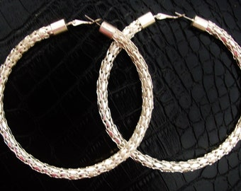 "HOOP Earrings Large Silver 3.5"" Vintage Latch Lever Back w/Post Closure Day Night Super Lightweight Woven Links Plus Size Jewelry Day Night"