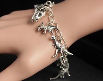 Dinosaur Bracelet. Paleontology Charm Bracelet. Dinosaur Lover Bracelet. Silver Bracelet. Archeology Jewelry. Handmade Jewelry.