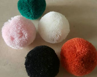 Set of 10 balls PomPoms velvet 30 mm