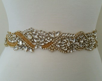 Wedding Belt, Bridal Sash Belt - GOLD Crystal Wedding Sash Belt