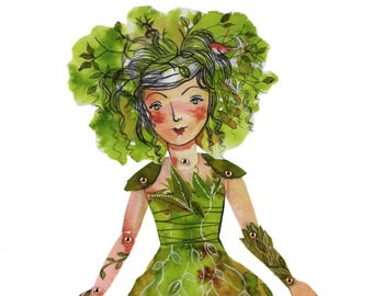 PDF Articulated Paper Doll instant download PDF. fairytales Fairy sprite of the forest paper download digital sheet
