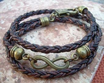 Leather Infinity Bracelet, Leather Bracelet, Infinity Bracelet, Mens Bracelets Leather, Womens Bracelets Leather, Infinity Jewelry, For Men